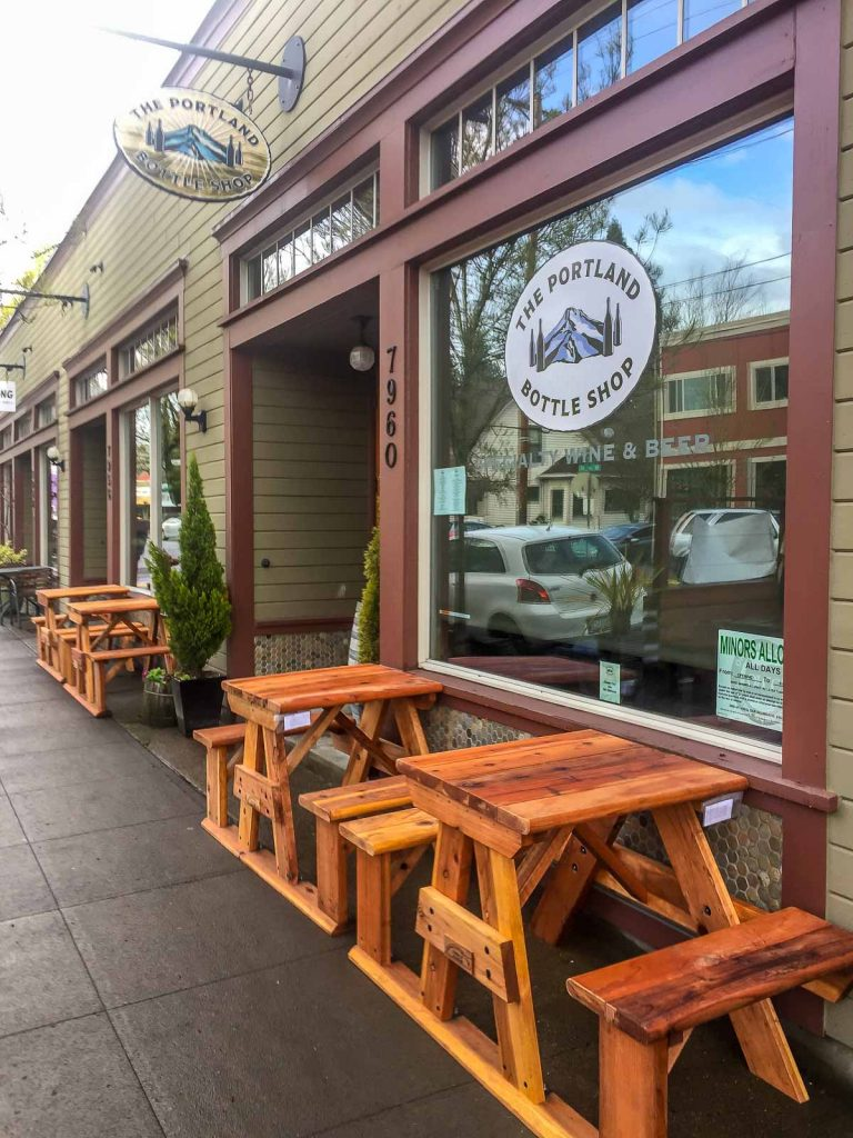 Tavern with Redwood Tables Curbside
