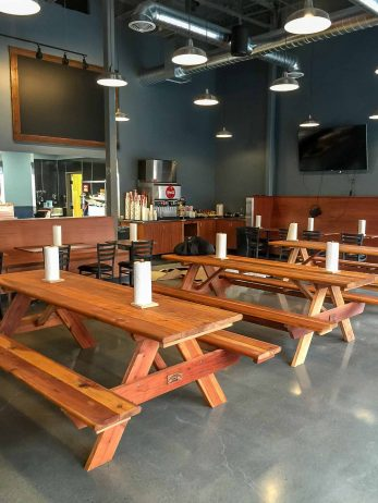 Eatery with Redwood Tables