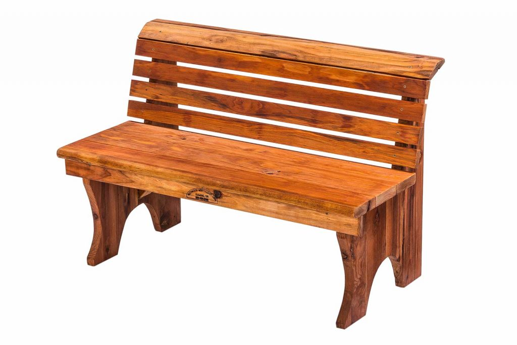 Redwood Bench With Back, No Arms