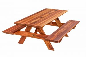 Wide Glide Redwood Table with attached benches
