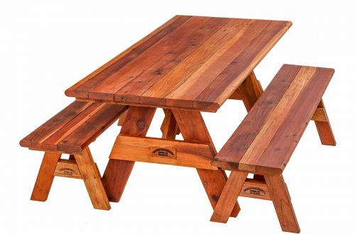 Wide-glide Redwood picnic table with detached benches