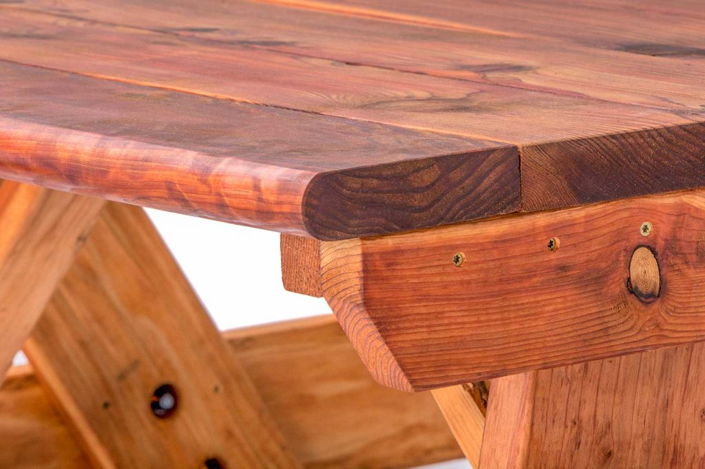 Redwood Table showing Eased Edges