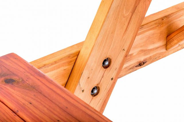 Redwood Table showing Recessed Fasteners