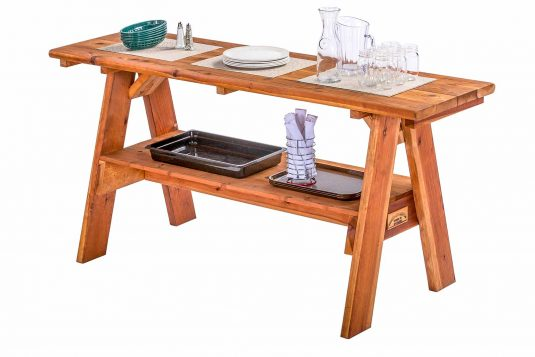 Redwood Serving Table With Supplies