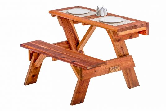 Redwood Wall Hugger Table With Two Place Settings
