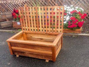 4 foot free standing redwood planter box with 4 x 4 lattice