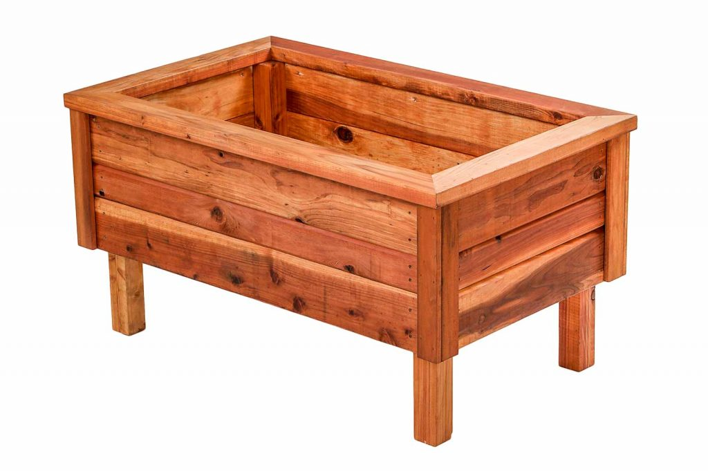 25 Inch Raised Redwood Planter Box