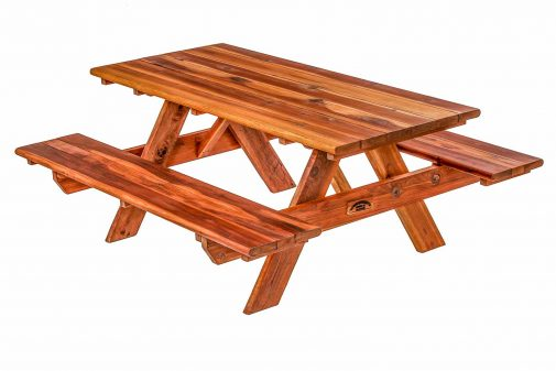 Redwood Picnic Table With Wide Seating Option