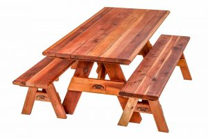 Wide Glide Redwood Table with Detached Benches