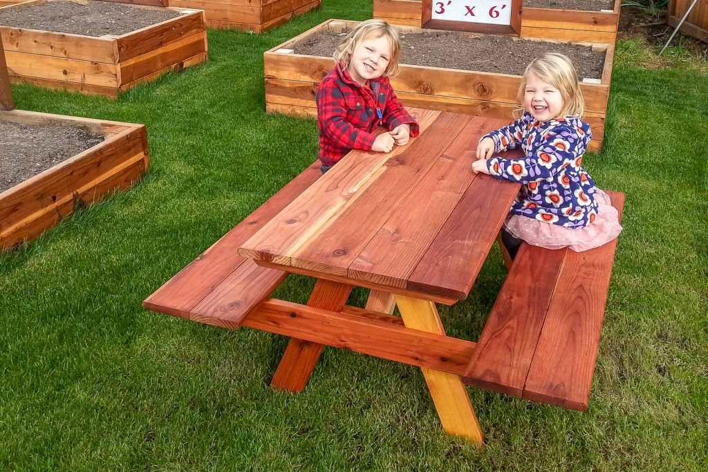 Children's Redwood Picnic Table