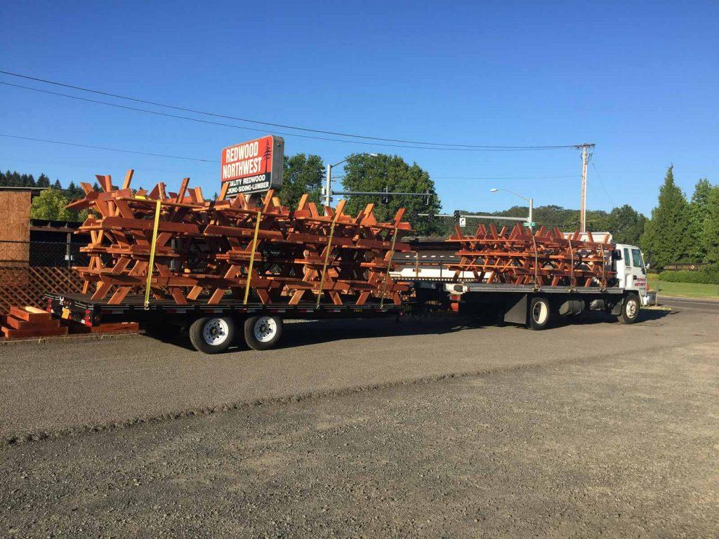 Truck Delivering Redwood Tables in Western Oregon