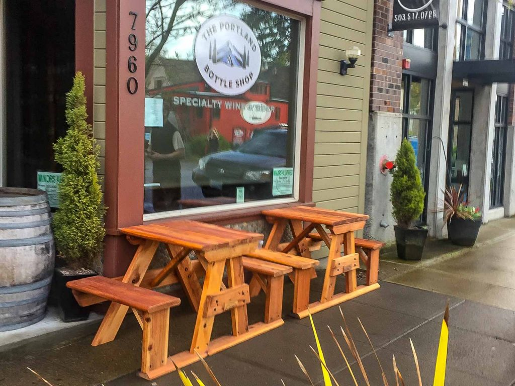 small step-side redwood tables curbside