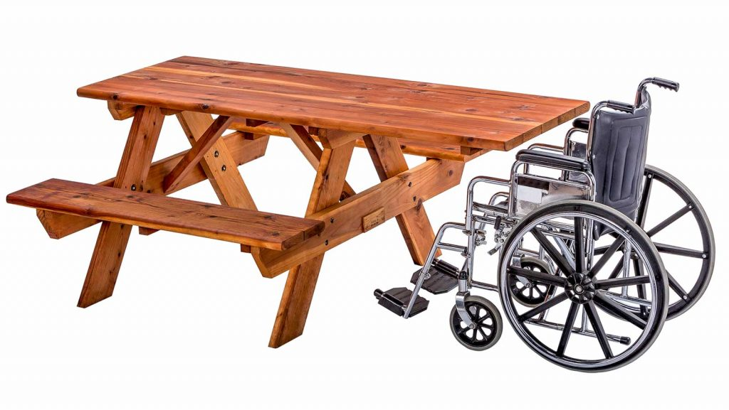 Wheelchair Accessible Redwood Table