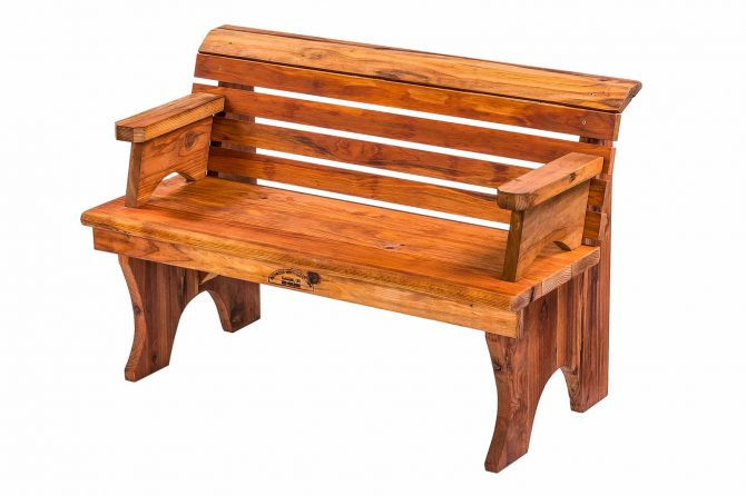 Redwood Bench with Back and Arms
