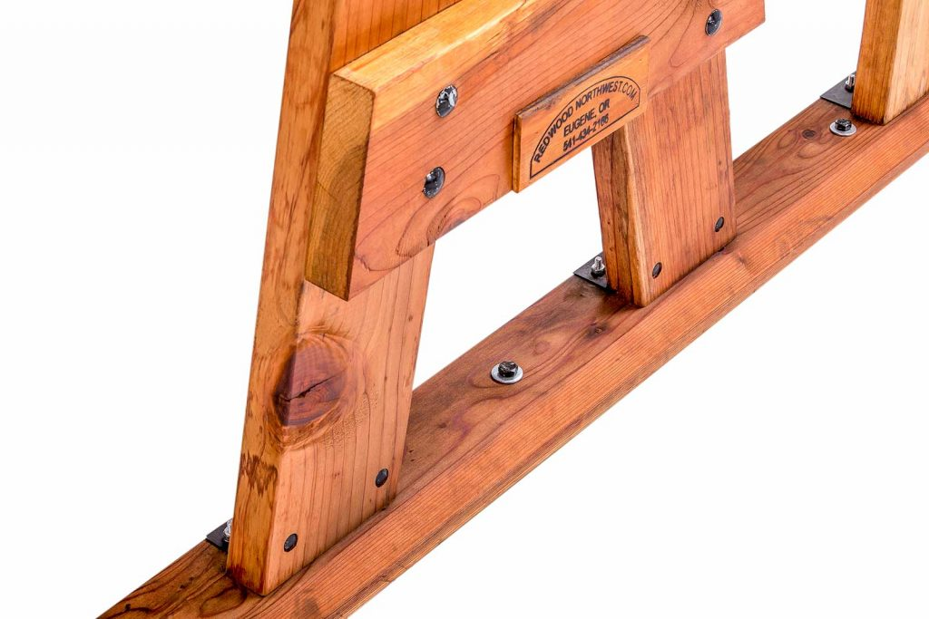 Redwood Table showing Boltable Base Plate