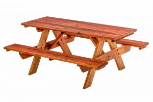 Standard Redwood Table with Attached Benches