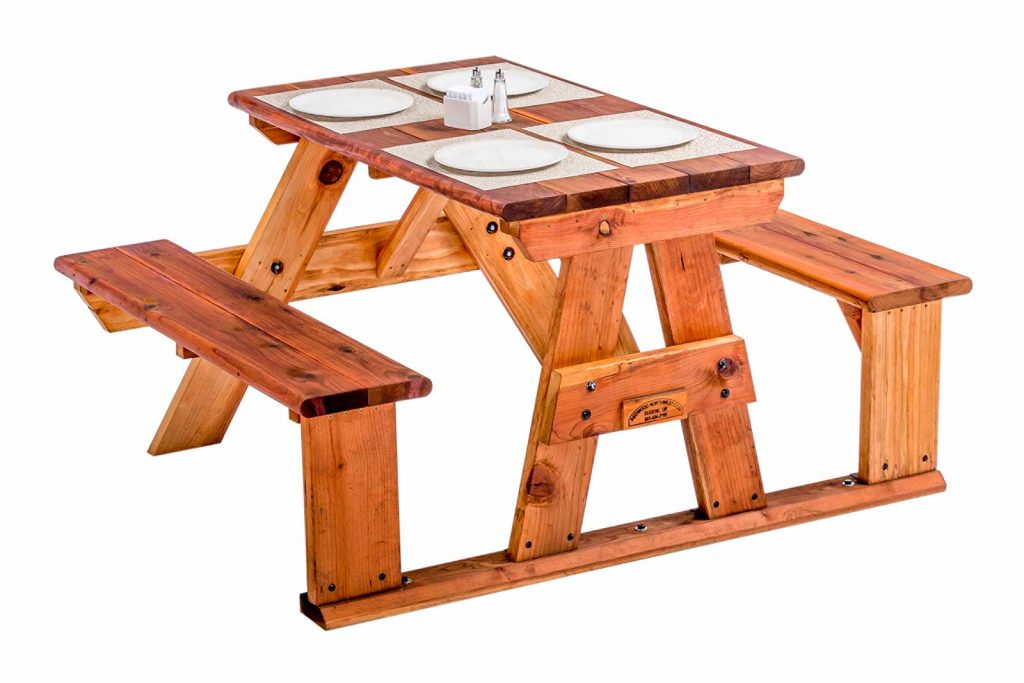 Redwood Step-Side Table With Place Settings