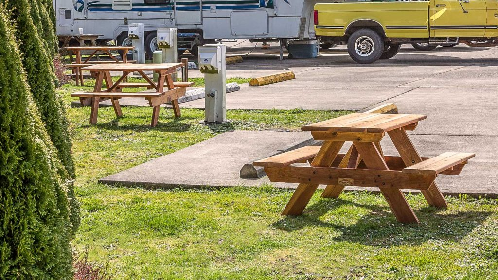 Redwood picnic tables at RV Park