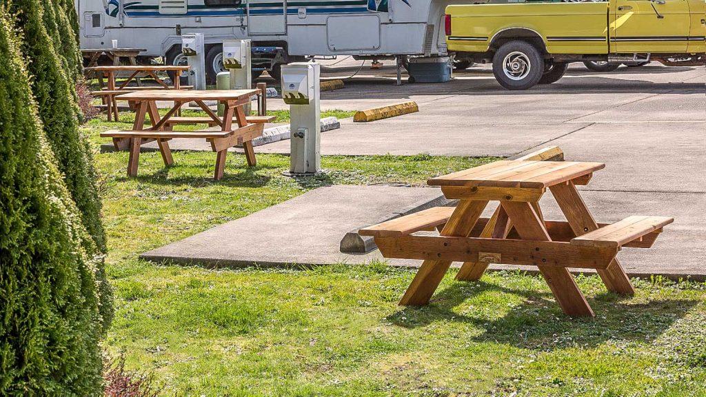 Redwood picnic tables at RV Park